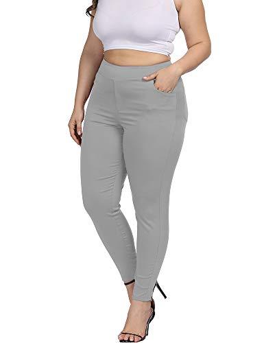 Allegrace Plus Size Women Skinny Pants Stretch Long,Tummy Control Slim Skinny Leggings with Pockets Gray 2X