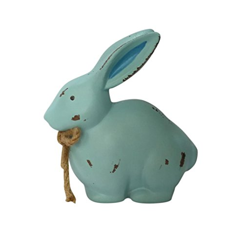 NewKelly Wooden Bunny Happy Easter Cute Rabbit Party Decor Ornaments Children's Toy Gift (Blue)