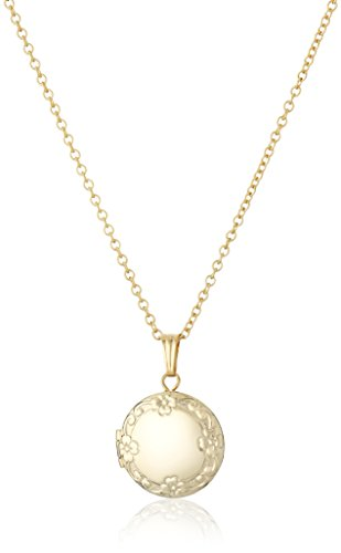 14k Gold Locket - Children's 14k Gold-Filled Petite Embossed Edge Round Locket Necklace