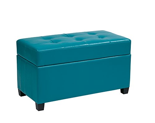 Office Star Metro Vinyl Storage Ottoman with Espresso Finish Legs, Blue