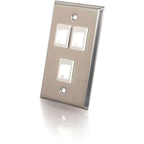 C2G 3-Port Single Gang Multimedia Keystone Wall Plate - Stainless ()