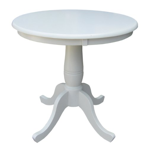 International Concepts 30-Inch Round by 30-Inch High Top Ped Table, Linen (30 Inch Pedestal Dining Table)