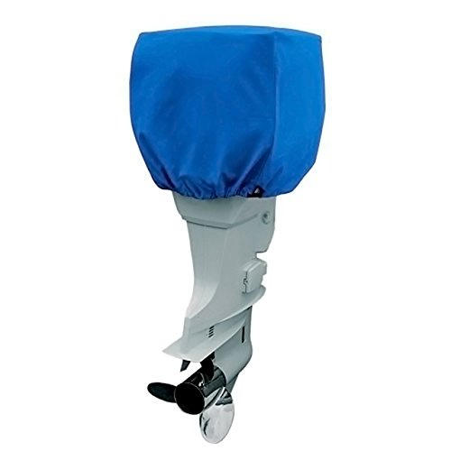 COCO Yacht Boat Engine Outboard Motor Cover Up to 25-50 Horsepower-Trailerable Heavy Duty Water, Mildew, and UV Resistant with Thick Polyester Fabric (Blue, 25-50)