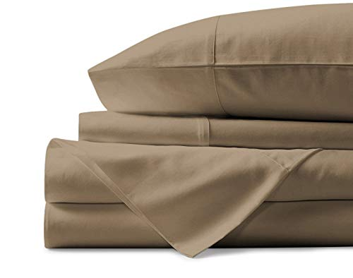(Mayfair Linen 100% Egyptian Cotton Sheets, Taupe Twin XL Sheets Set, 600 Thread Count Long Staple Cotton, Sateen Weave for Soft and Silky Feel, Fits Mattress Upto 18'' DEEP Pocket)
