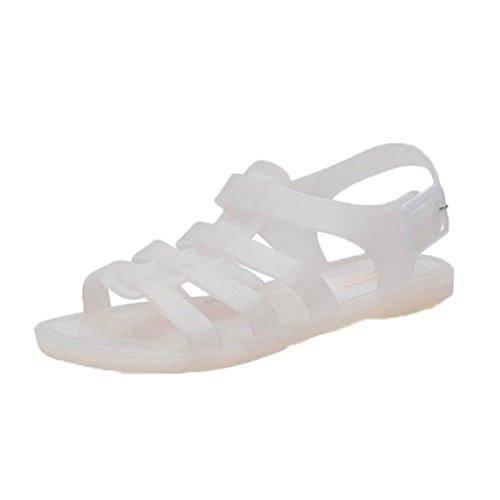 Tefamore Mujer Zapatos de la jalea de las sandalias de las mujeres de deslizamiento plana playa de arena de plástico botas de lluvia de verano Blanco
