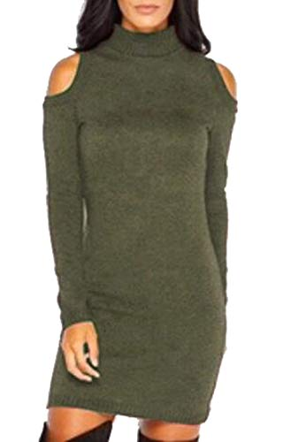 Alion Womens Cold Shoulder Turtleneck Sweater Dress | Long Sleeve Sweater Dresses