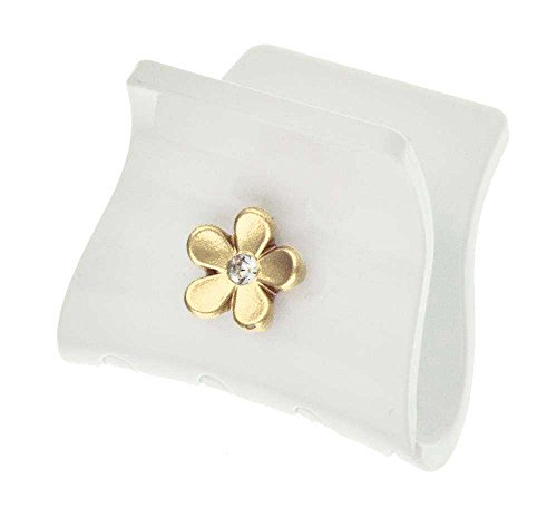 Camila Paris French Hair Clips for Women, Small Square, Gold, Flower, Girls Hair Claw Clips Jaw Fashion Durable and Styling Hair Accessories for Women, Made in France