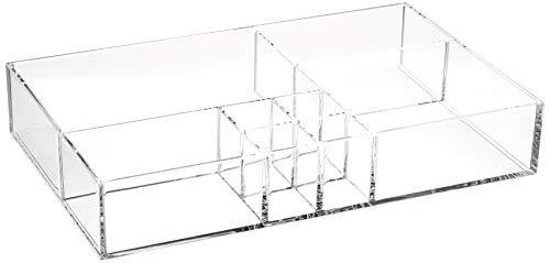 AmazonBasics Acrylic 8-Compartment Durable Makeup Jewelry Accessories Storage Organizer Tray