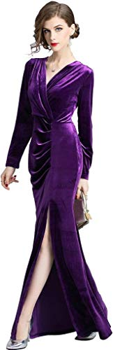 Ababalaya Women's 90s Retro Velvet Long Bodycon Side Slit Formal Evening Gown,Purple,M -