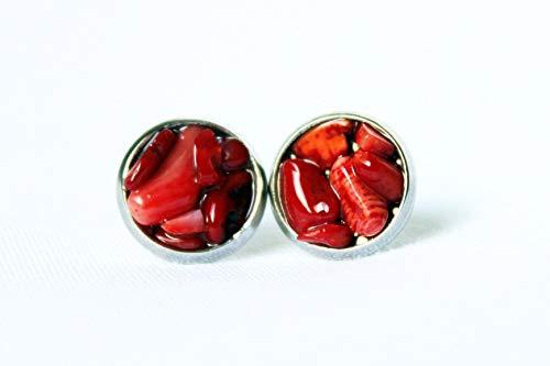 Mandrel Non - Raw Crystal Studs, Bamboo Coral Earrings, Stud Earrings, Hypoallergenic Earrings, Raw Crystal Studs, Gemstone Earrings, Stainless Steel