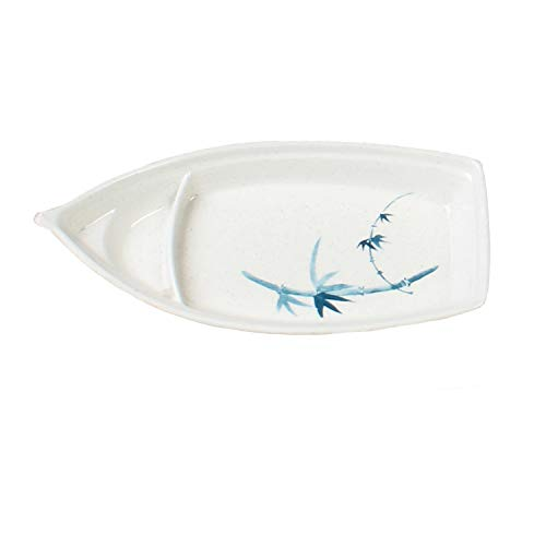 """TigerChef 12"""" x 5 1/2"""" Blue Bamboo Oblong Medium Sushi Boat Plate - 12 Pieces"""