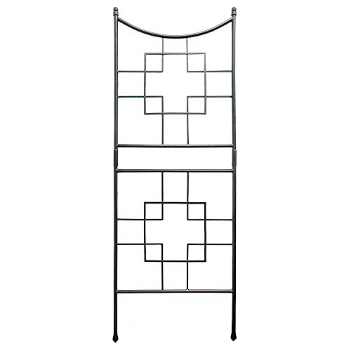 Achla Designs FT-25 Squares Metal Garden Wall Trellis, Graphite