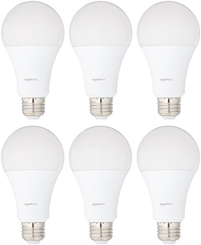 AmazonBasics 100 Watt 15,000 Hours Non-Dimmable 1500 Lumens LED Light Bulb - Pack of 6, Soft White 100 Watt Medium Based Bulb