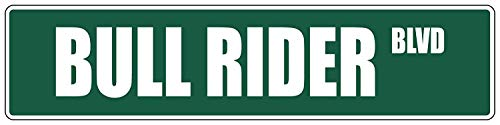Yohoba Bull Rider Green Aluminum Metal Novelty Street Sign 4