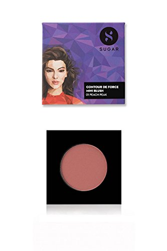 SUGAR Cosmetics Contour De Force Mini Blush 01 Peach Peak (Soft Peach Pink), 4g