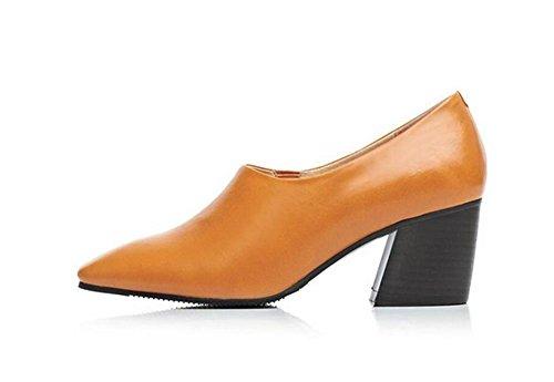 Chaussures à talons hauts en cuir à bas talons , yellow , 38