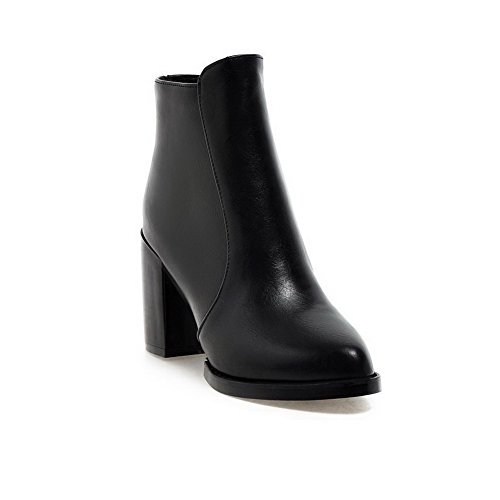 Allhqfashion Pointed High Zipper Toe Closed Soft Material Black Solid Boots Women's Heels I57qrIA