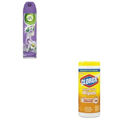4in 1 Disinfecting Wipes - KITCOX01594CTRAC05762CT - Value Kit - Air Wick 4 in 1 Aerosol Air Freshener (RAC05762CT) and Clorox Disinfecting Wipes (COX01594CT)