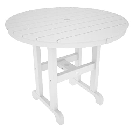 POLYWOOD RT236WH Round Dining Table, 36 Inch, White