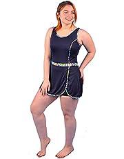 ملابس سباحة من البوليستر قطعة واحدة مع شورت للنساء - كود 434