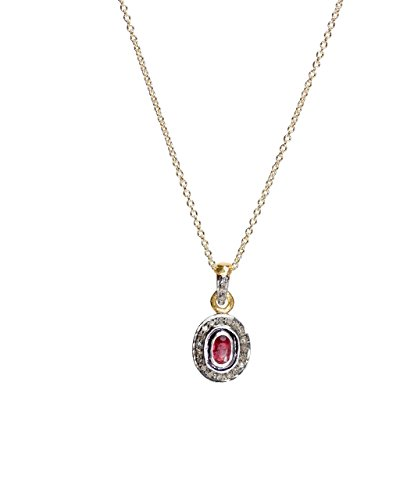 Ruby Solitaire Oval Pendant Necklace Rose Cut Pave Diamond Sterling Silver Gold - 16