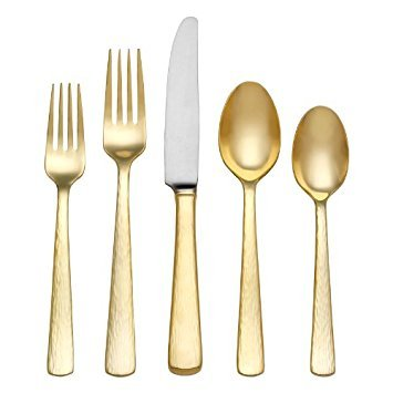 (Reed & Barton Echo Gold Finish 18/10 Stainless Flatware 5 Piece Place Setting)
