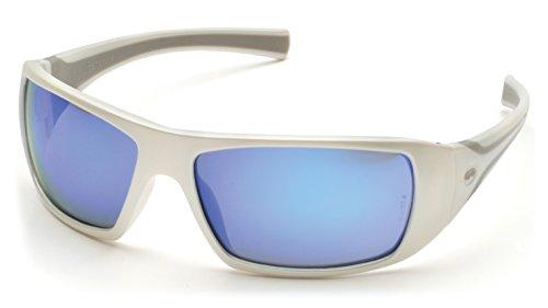 (Pyramex Goliath Safety Eyewear, White Frame, Ice Blue Mirror Lens)