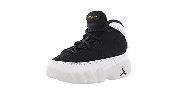 NIKE Toddler Black Air Jordan 9 Retro Basketball Shoes Black//White Style 401812-021