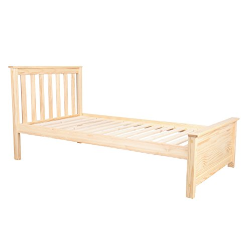 Max & Lily Solid Wood Twin-Size Bed, Natural (Solid Wood Headboards)