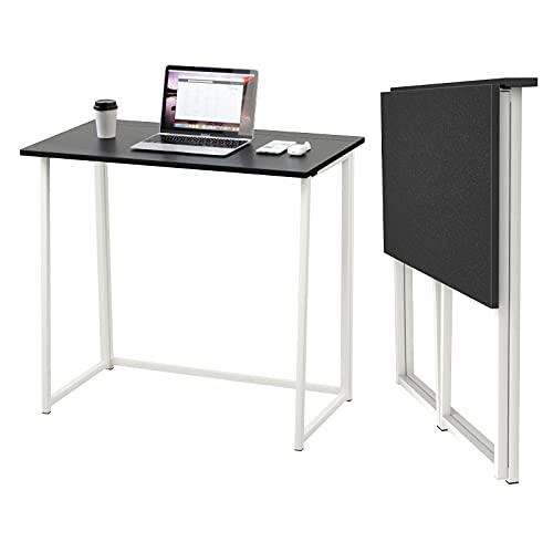 Dripex Mesa Escritorio Plegable, Mesa Ordenador, Compacto sin ensamblaje, Mesa de Estudio Plegable para Casa Oficina, Escritorio para computadora Manualidades, Escritorio Negro, 80 x 45 x 74 cm