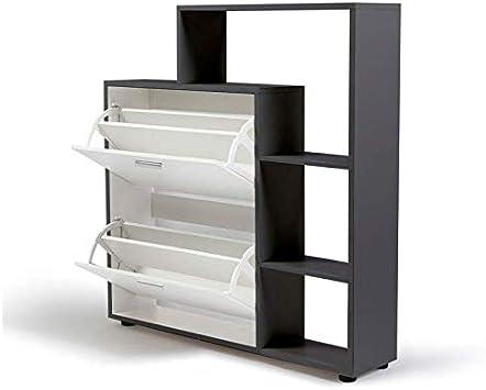 IDMarket avec étagère à chaussures blanches Meuble 2 portes gris BdxeoC