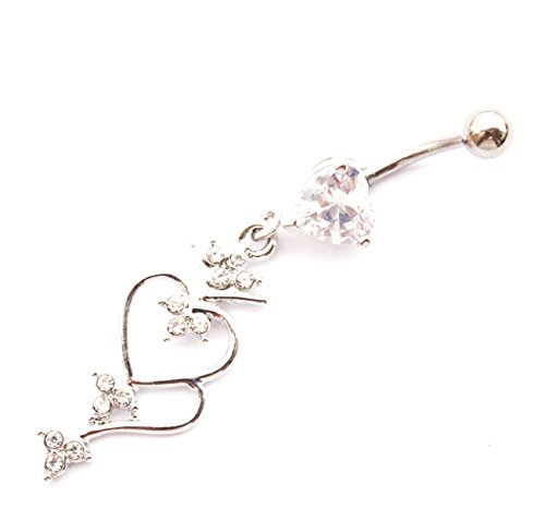 WOWOHE 14g Silver double hearts Dangling Belly Button Navel Ring Body Piercing Jewelry