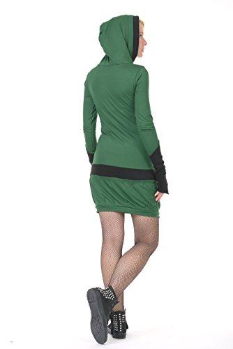 abito Verde Gotico pile 3Elfen streetwear donna casual con con cappuccio Riga abiti OHBvvWnF