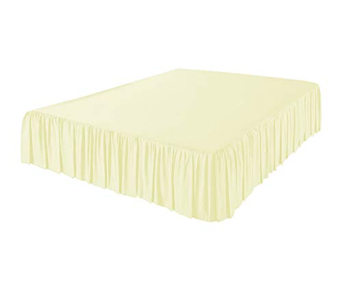 (Exotic Bedware 600 TC 100% Cotton 3 Side Coverage Ruffle/Gathered Bed Skirt with 16 Inch Drop Length Queen Solid Ivory)