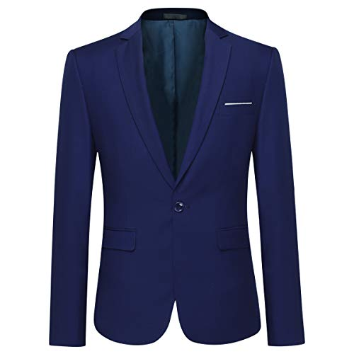 Mens Slim Fit Dress Suit Casual One Button Notched Lapel Solid Color Business Daily Blazer Jacket