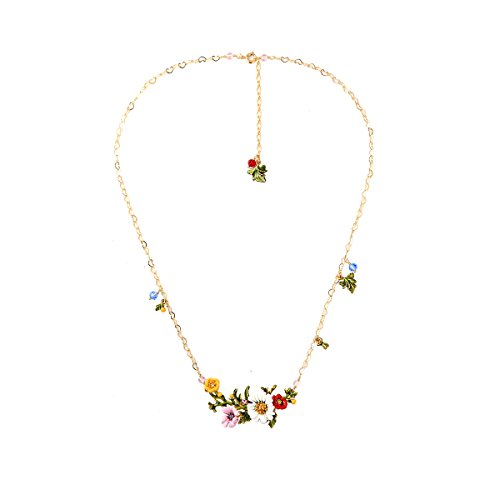 JUICY GRAPE Ladies Exquisite Cloisonné Handmade Enamel Necklace for Women, Vintage Real Gold, Multi Stones, Beautiful Daisy (Multi Stone Chain Necklace)