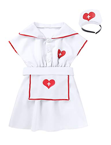 Agoky Kids Girls Halloween Hospital Nurse Doctor Costume Cosplay Party Fancy Outfits Child Coat Dress with Hair Hoop Apron White 4-6]()