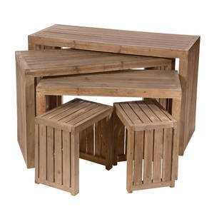 Crate Tables Rustic Pine Wood Finish by Retail Resource