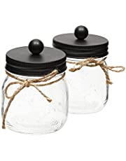 Farmlyn Creek Black Mason Jar Bathroom Accessories Set (3.25 x 4.25 in, 2 Pack)