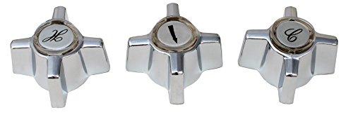 (Generic Sterling Faucet/Shower Handles, 16 Spline, Chrome Plated, 3 Handles - PlumbUSA)