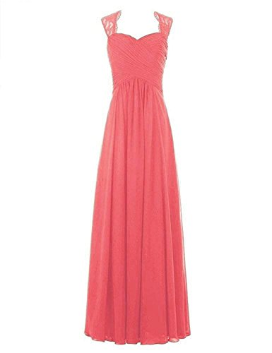 Coral Women's Bridesmaid Long Pleated Evening Gowns Chiffon Formal Dresses Dreagel zZq7B4ww