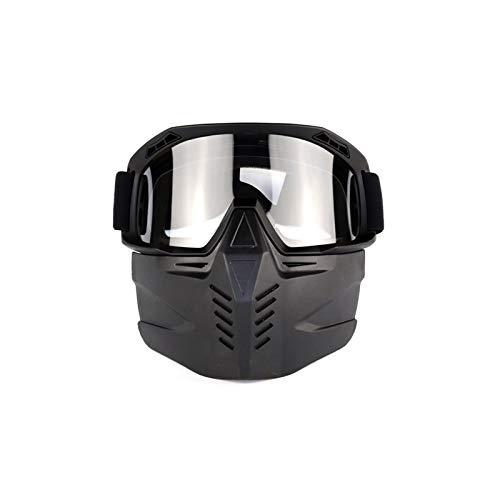 Adisaer Sport Brille Herren Locomotive Retro ski Motorcycle Goggles Black Transparent for Unisex (Retro Brillen Herren)