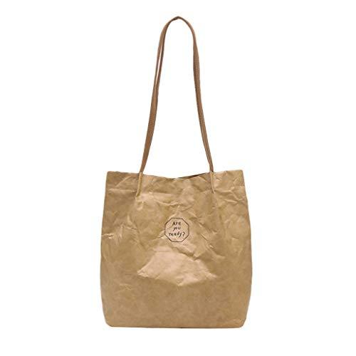 (Waxed Canvas Bag - Women Vintage Letter Print Waterproof Shoulder Tote Bag - Girl Casual Durable, Eco,Fashion Bags (Khaki))
