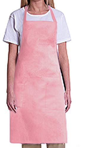 Bib Aprons-MHF Aprons-1 Piece Pack-2 Waist Pockets- New Spun Poly-commercial Restaurant Kitchen (Pink)