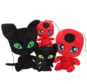 Full Moon 4 Pcs/1lot Miraculous Ladybug Cat Plagg & Tikki Noir Plush Toy Plush Pendant Clip Keychain Lady Bug Adrien Marinette Plush Toys Doll ()