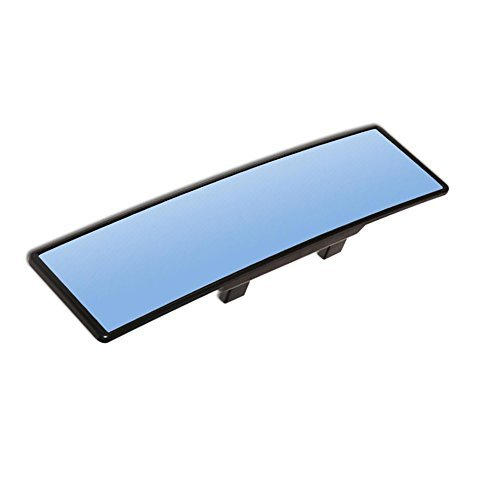 "PME 11.8"" Wide Blue Tinted Anti-Glare Curved Wide-Angle Panoramic Clip-on Rear View Mirror (Blue Convex Mirror)"
