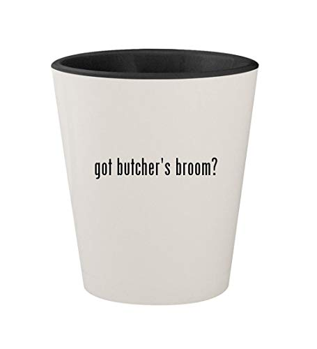 Broom Foods Butchers (got butcher's broom? - Ceramic White Outer & Black Inner 1.5oz Shot Glass)