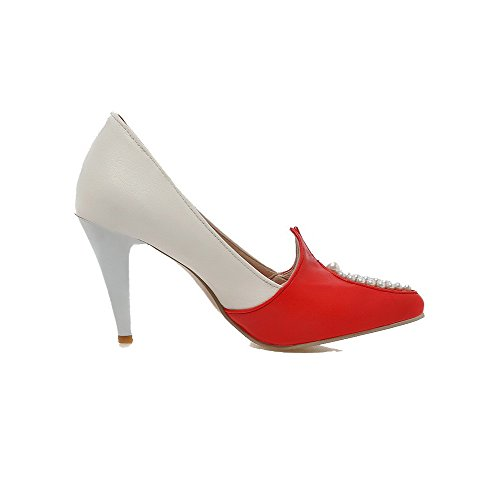 AmoonyFashion Womens PU High-Heels Pointed-Toe Assorted Color Pumps-Shoes Red hdT75E3wf