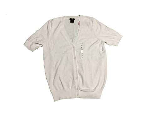 Taylor Cardigan Ann - Ann Taylor Petite Women's Short Sleeve Button Front Cardigan LP Large Petite White