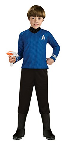 Star Trek Movie Child's Deluxe Blue Shirt Costume with Dickie, Pants with Attached Boot Tops and Emblem Pin, ()